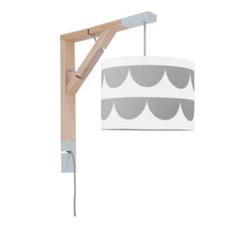 Designerski kinkiet Simple - biały abażur w szare półkule