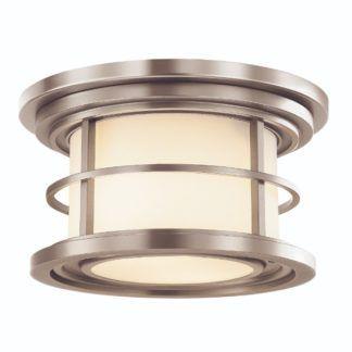 Nieduży plafon Lighthouse - szklany klosz, srebrna oprawa, IP44