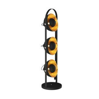 Efektowna lampa podłogowa Antenne - czarno-złote klosze z regulacją