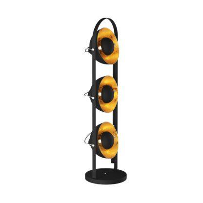 lampa podłogowa designerska, czarno-złota