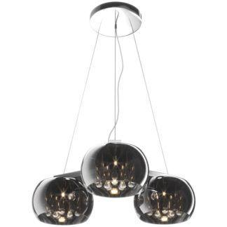 Potrójna lampa wisząca Crystal - szklane klosze z kryształkami, polerowany chrom