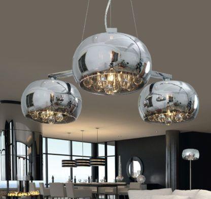 lampa wisząca w stylu glamour, chrom