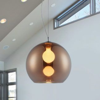 Szklana lampa Vero - kulisty klosz, kolor miedzi, nowoczesna