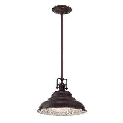 Industrialna lampa wisząca East Vale - okrągły klosz, ciemnobrązowa