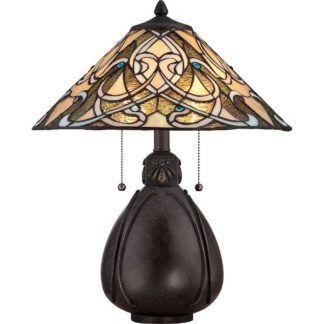 Klasyczna lampa stołowa Indiana - szeroka, brązowa podstawa, klosz ze szkła witrażowego