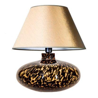 Efektowna lampa stołowa Tanzania - złoty abażur, podstawa w cętki