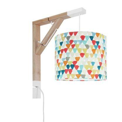 drewniany kinkiet abażur w kolorowe trójkąty