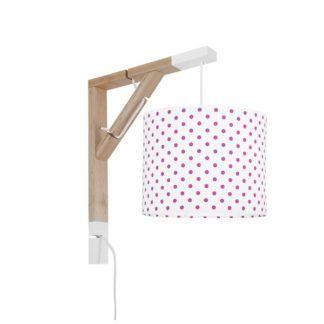 Drewniany kinkiet Simple - biały abażur w różowe groszki