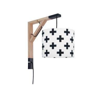 Skandynawski kinkiet Simple - biały w czarne krzyżyki, drewniany