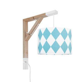 Skandynawski kinkiet Simple - z abażurem, turkusowe romby