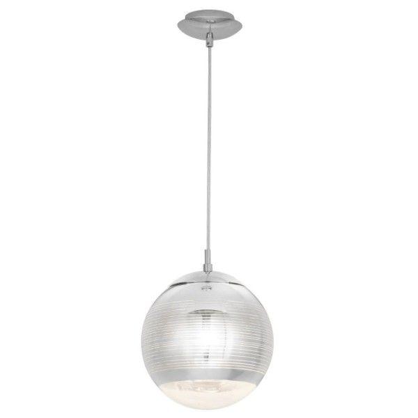 szklana lampa wisząca kula chrom