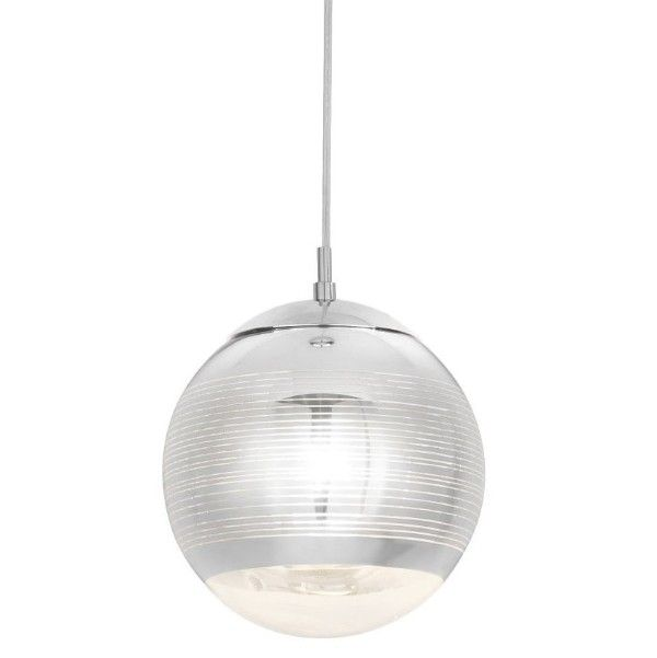 Szklana lampa wisząca Mila – nowoczesna, srebrny klosz kula