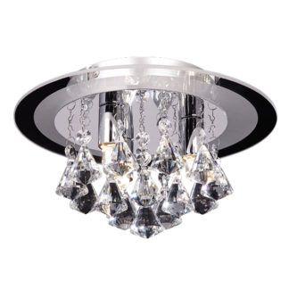 okrągła lampa sufitowa Renner - srebrna, dekoracyjne kryształki