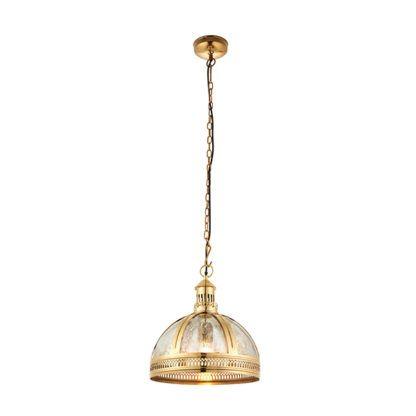 złota lampa wisząca ze szklanym kloszem