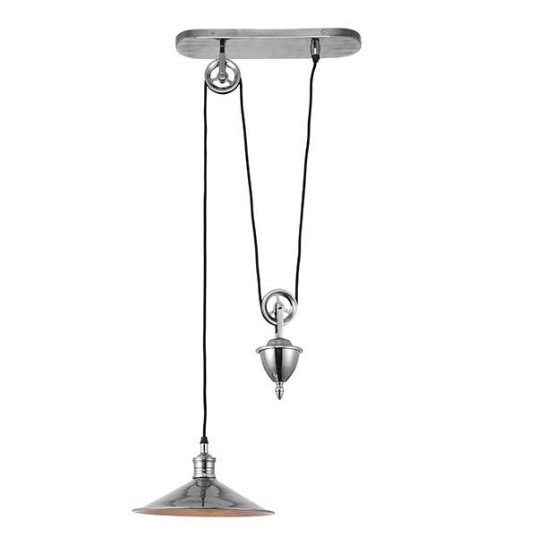 industrialna lampa wisząca srebrna