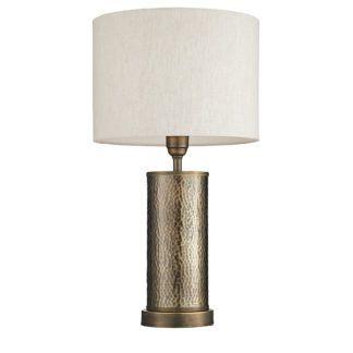 Lampa stołowa Indara - brązowa podstawa, jasny abażur