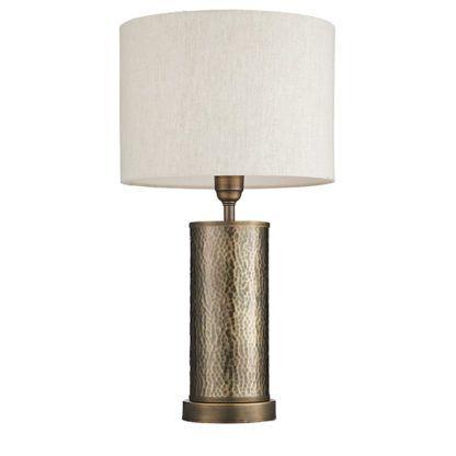 kolonialna lampa stołowa z beżowym abażurem