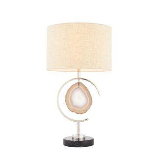 Oryginalna lampa stołowa Agate - beżowy abażur, podstawa z agatem, srebrna