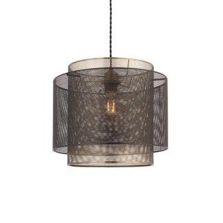Mała lampa wisząca Plexus - podwójny, druciany klosz, czarno-złota