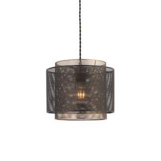Metalowa lampa wisząca Plexus - dwa klosze, złoto, czerń
