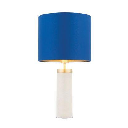 elegancka lampa stołowa z granatowym abażurem