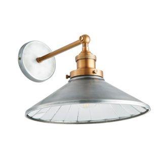 Industrialny kinkiet Tabyas - szeroki, srebrny klosz z metalu