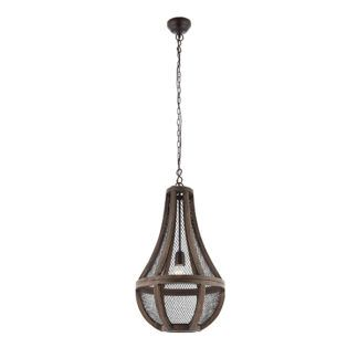 Rustykalna lampa wisząca Nadina - klosz z drewna i metalowej siatki