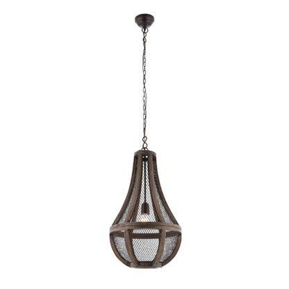 lampa wisząca vintage drewno i metal