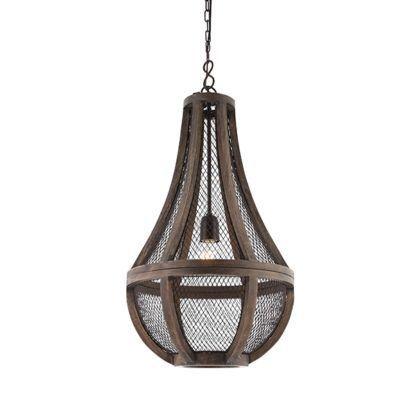 rustykalna lampa wisząca z drewna