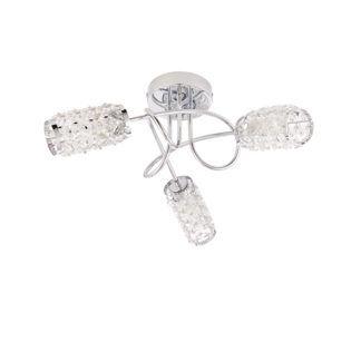 Srebrna lampa sufitowa Colby - szklane klosze, IP44