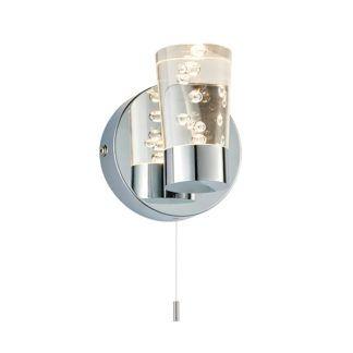 Designerski kinkiet Rocco - srebrny, klosz z efektem bąbelków, IP44