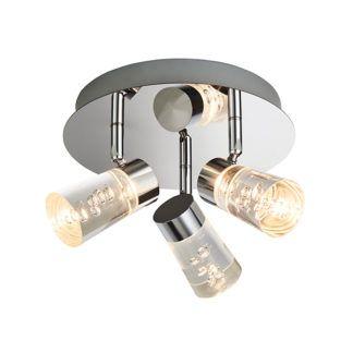 Nowoczesna lampa sufitowa Rocco - srebrna, klosze z bąbelkami, IP44