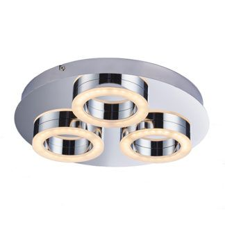 Designerska lampa sufitowa Geo - srebrna, okrągła, LED, IP44