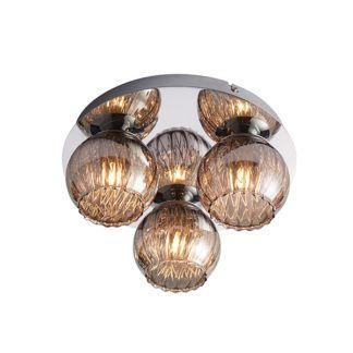 Elegancka lampa sufitowa Aerith - srebrna, szklane klosze
