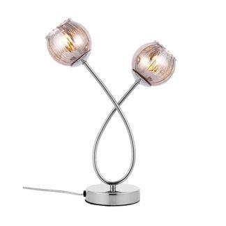 Elegancka lampa stołowa Aerith - srebrna, szklane klosze