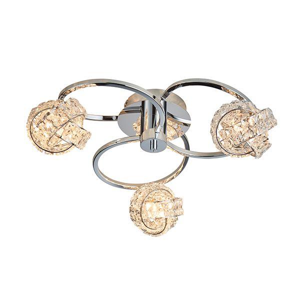 srebrna lampa sufitowa z kryształkami