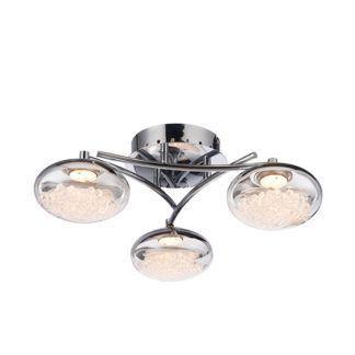 Nowoczesna lampa wisząca Oria - 3 szklane klosze z kryształkami w środku, srebrna