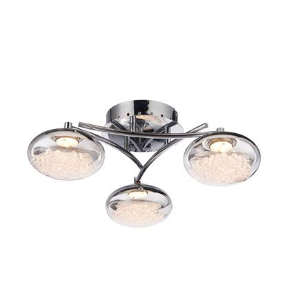 srebrna lampa sufitowa kryształki w środku kloszy