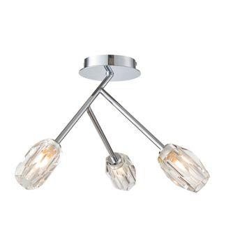 Efektowna lampa sufitowa Ilaria - 3 szklane klosze, srebrna