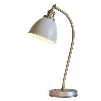 Klasyczna lampa biurkowa Franklin - kremowy klosz, metalowa