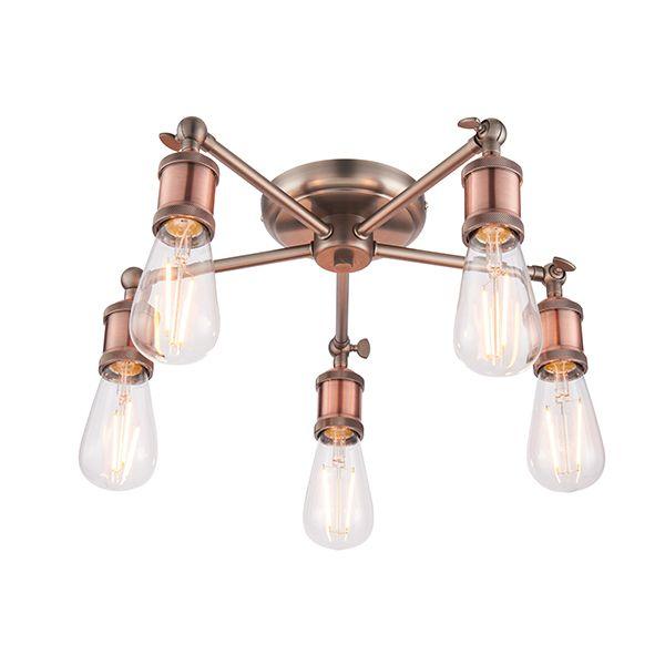 industrialna lampa sufitowa żyrandol miedź