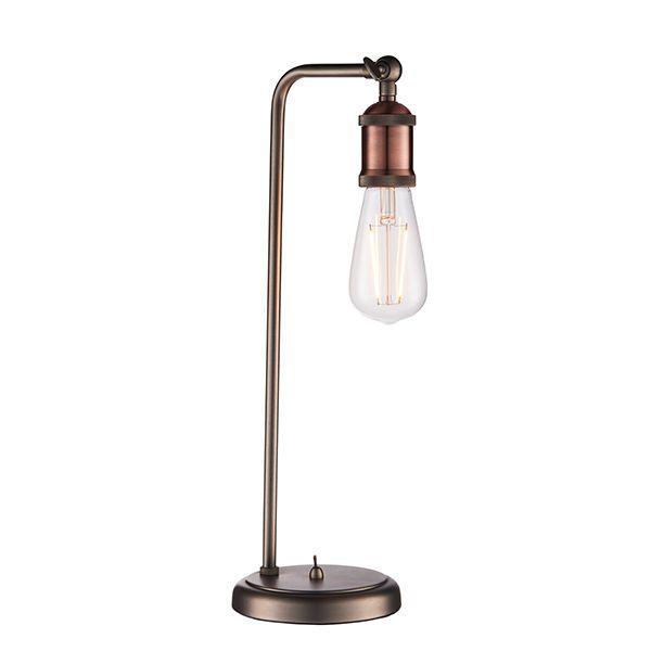 miedziana lampa stołowa industrialna