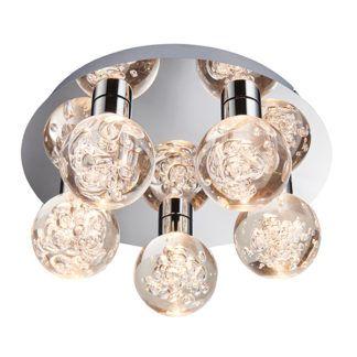 Okrągła lampa sufitowa Versa - srebrna, bezbarwne klosze, IP44