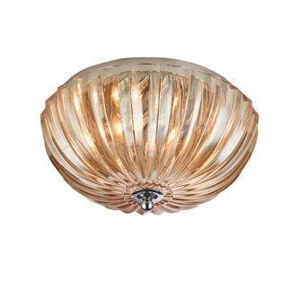 Elegancki plafon Chalbury - szklany klosz, bursztynowy