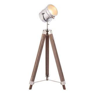 Lampa podłogowa Brodway - drewniany trójnóg z reflektorem