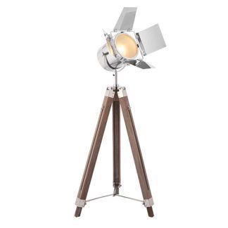 Designerska lampa podłogowa Dalton - drewniany trójnóg, reflektor