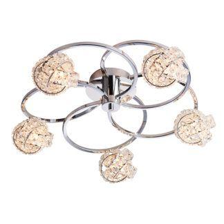 Efektowna lampa sufitowa Talia - 5 kulistych, połyskujących kloszy, srebrna