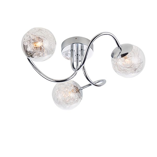 Efektowna lampa sufitowa Auria - szklane klosze, srebrna