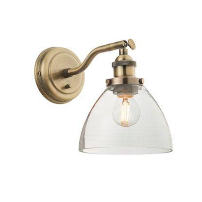 złoty kinkiet ze szklanym kloszem vintage