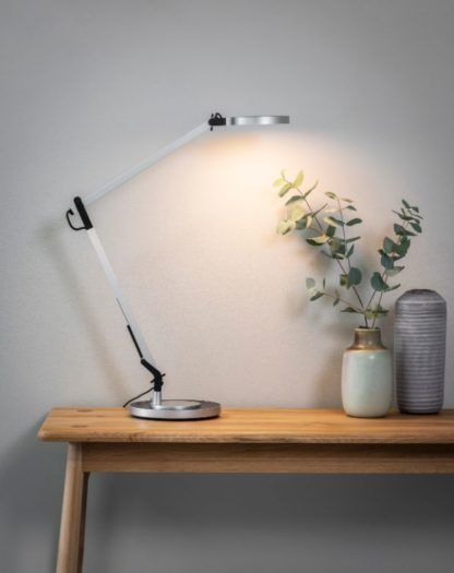 srebrna lampa biurkowa led nowoczesna